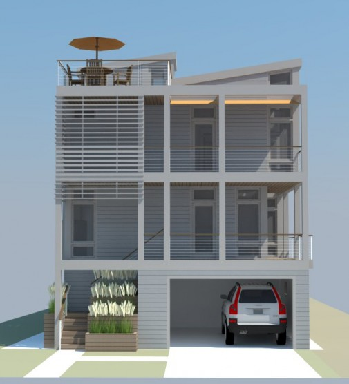 Duplex on chick s beach progress renderings work for Beach house elevations
